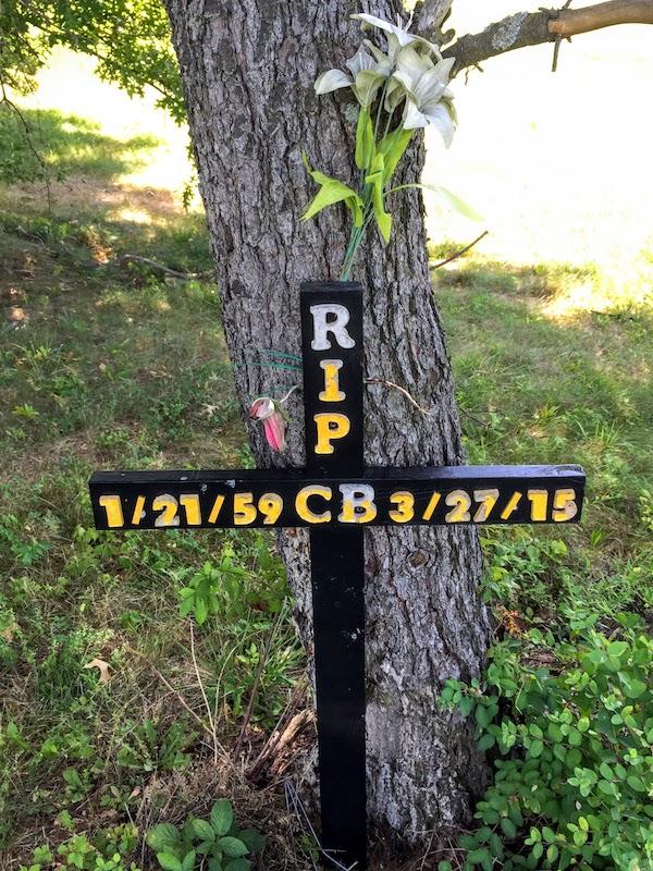 """roadside memorial cross for """"CB"""""""