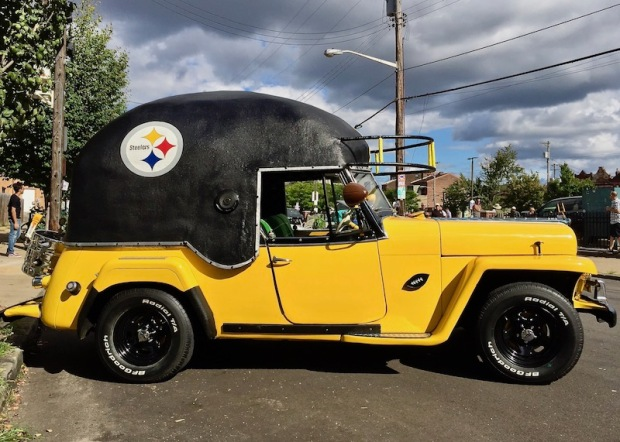1950 Willys Jeepster decorated in tribute to the Pittsburgh Steelers