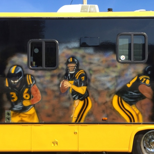 large RV with airbrush portraits of Steelers football players, Pittsburgh, PA