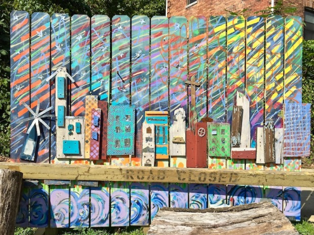 colorful public art piece of town made with scrap wood, Bellevue, PA