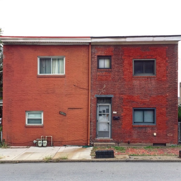 exterior of brick row houses, Pittsburgh, PA