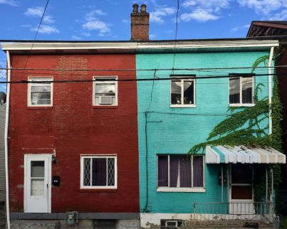 side-by-side brick row houses, Pittsburgh, PA