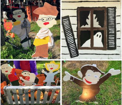 collage of homemade wooden lawn art for Halloween