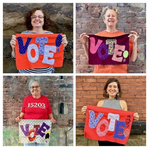 "collage of Pole-2-Polls volunteers holding handmade ""Vote!"" yard signs"