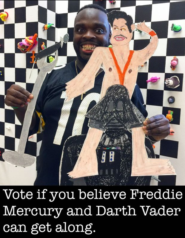 "Artist Charlie Wallace and his piece ""Freddie Mercury and Darth Vader,"" Pittsburgh, PA"