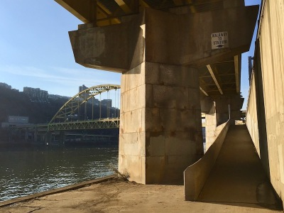 bicycle/pedestrian ramp to Point State Park in downtown Pittsburgh, PA
