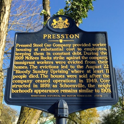 Pennsylvania state historical marker for Presston