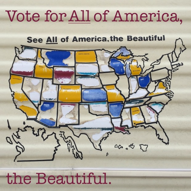 "faded decal of map of America with text ""See All of America, the Beautiful"""