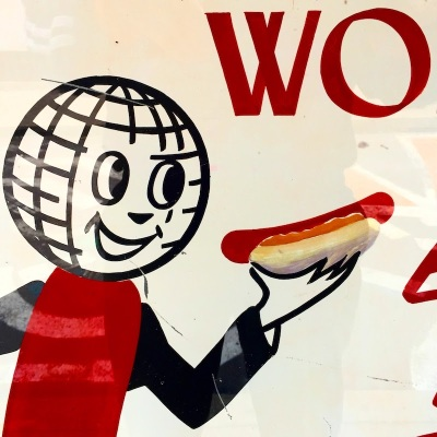 detail from sign for Weiner World hot dog shop, downtown Pittsburgh, PA