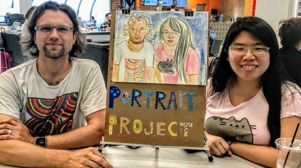 male/female couple with partial portrait of themselves
