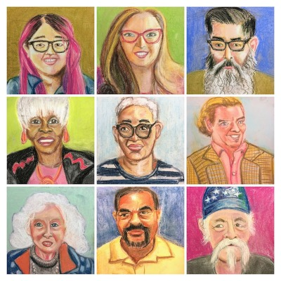 collage of 9 chalk pastel portraits created by Kirsten Ervin