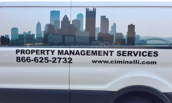 Ciminelli Property Management Services van with image of Pittsburgh skyline