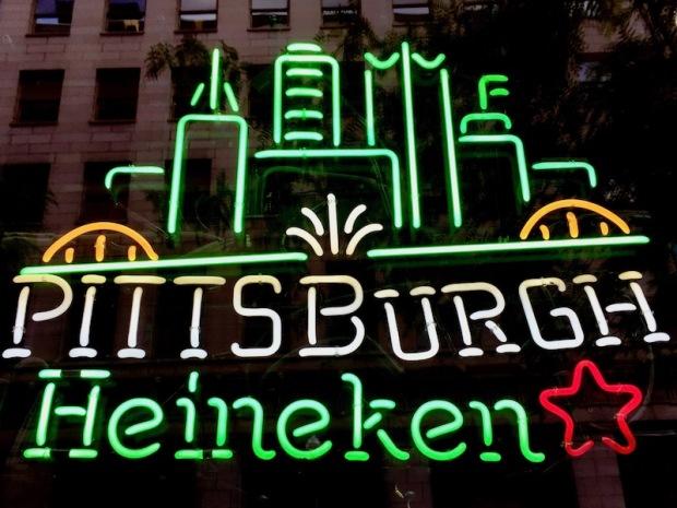 neon sign for Heineken Beer including Pittsburgh skyline