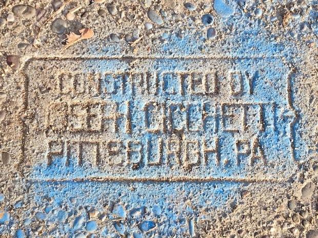 sidewalk stamp for Joseph Cicchetti, Pittsburgh, PA