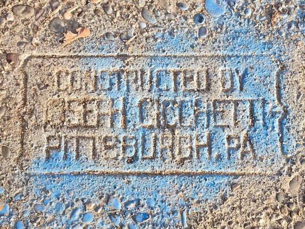 sidewalk stamp for Joseph Cicchetti, Pittsburgh, PA