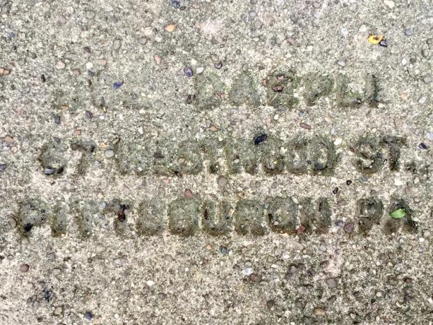 mason's stamp in concrete sidewalk, Pittsburgh, PA