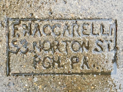 mason's stamp in concrete sidewalk, Pittsburgh, PA