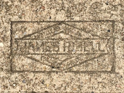 mason's stamp in concrete sidewalk, Bellevue, PA