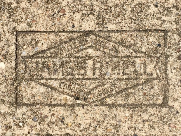 mason's stamp in concrete sidewalk, Bellevue, PA