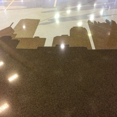 terrazzo tile floor of Pittsburgh International Airport with rendering of Pittsburgh skyline
