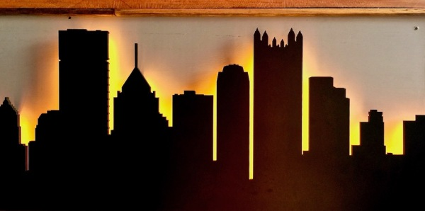 artist rendering of Pittsburgh skyline in restaurant