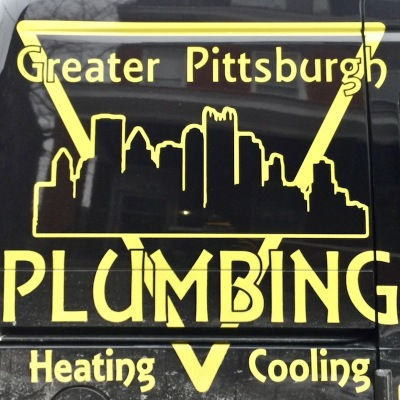 service van for Greater Pittsburgh Plumbing, Heating, and Cooling with Pittsburgh skyline