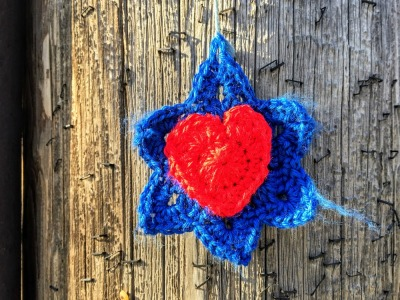 crochet Star of David with heart hanging from utility pole, Pittsburgh, PA
