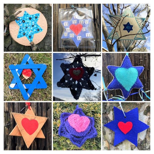collage of homemade Stars of David found around Pittsburgh, PA