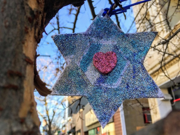 sparkle Star of David with heart hanging from tree limb, Pittsburgh, PA
