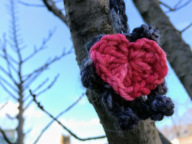 crochet Star of David with heart on tree limb, Pittsburgh, PA