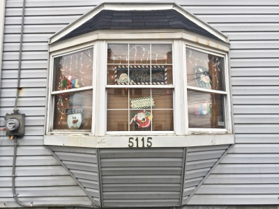 bay window decorated for Christmas, Pittsburgh, PA