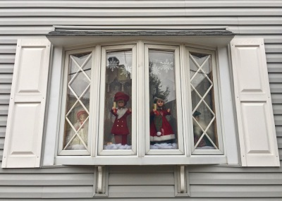bay window decorated with Christmas dolls, Pittsburgh, PA