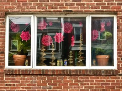 row house window decorated for Christmas, Pittsburgh, PA