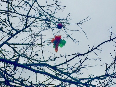 plastic fruit dangling from tree limbs