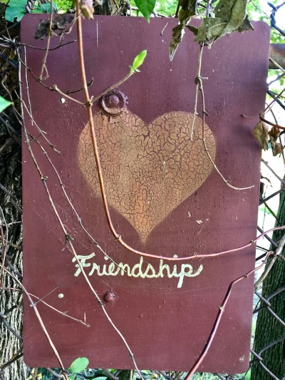 "handmade sign with heart and text ""Friendship"", Pittsburgh, PA"