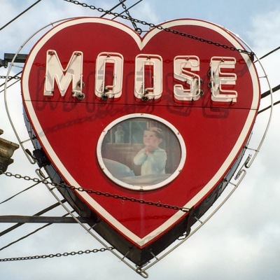 neon sign for Moose lodge in shape of heart, Irwin, PA