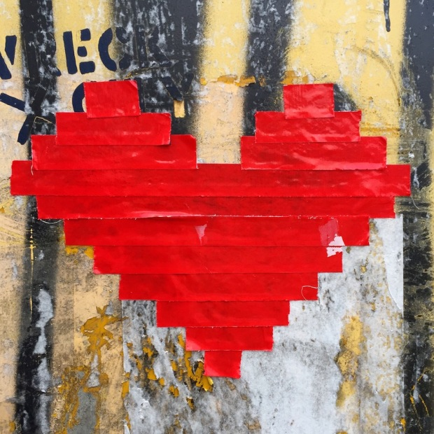 image of heart made from red tape on electrical box, Pittsburgh, PA