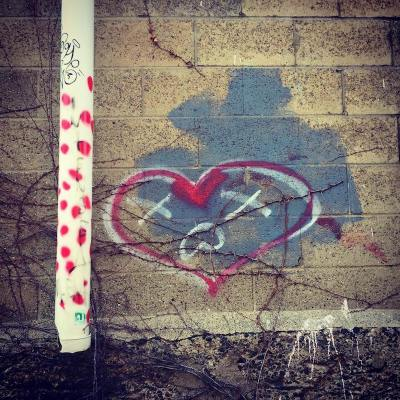 graffiti heart on cinderblock wall, Pittsburgh, PA