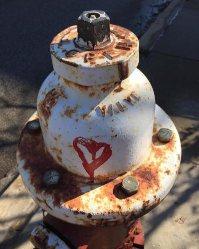fire hydrant with graffiti heart, Pittsburgh, PA