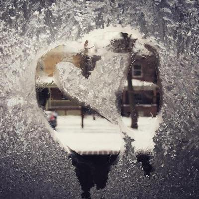 icy window with heart shape
