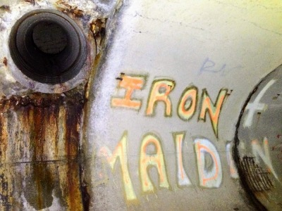 graffiti for metal band Iron Maiden in cement drainage tunnel, Munhall, PA