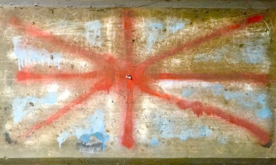 spray paint rendering of the British flag on cement wall, Sharpsburg, PA
