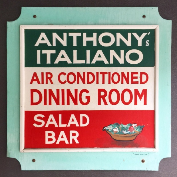 handmade wooden sign for Anthony's Italiano restaurant in Donora, PA