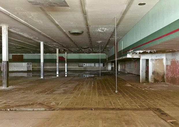 interior of vacant, former grocery store in Northern Lights Shopping Center, Baden, PA