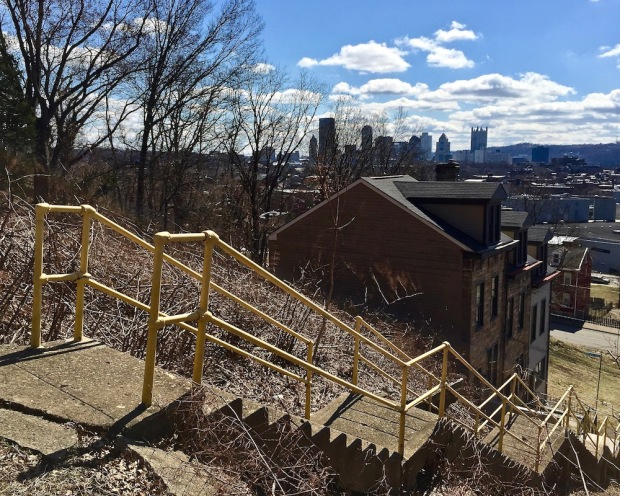 view of downtown Pittsburgh from public city steps