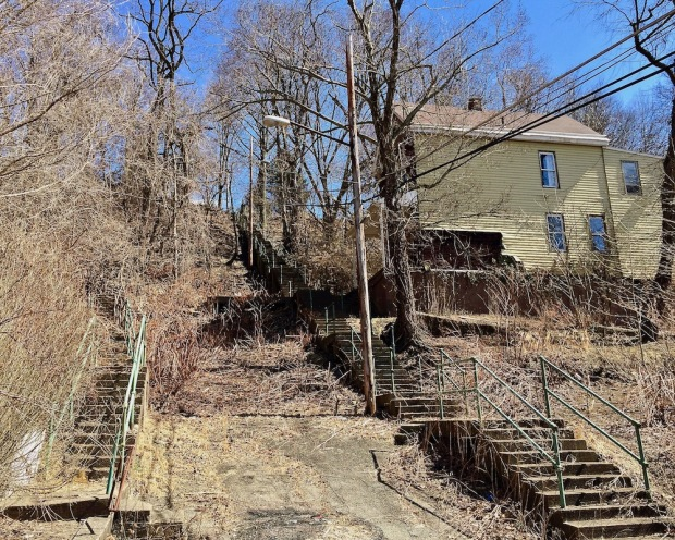 hillside with city steps in Pittsburgh, PA