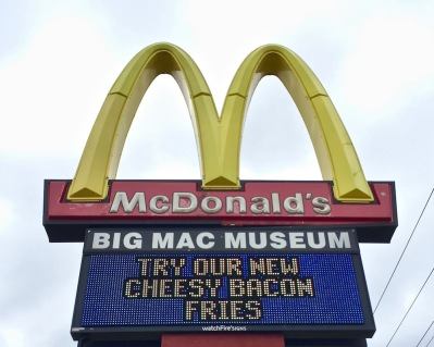 highway sign for McDonald's/Big Mac Museum, North Huntingdon, PA