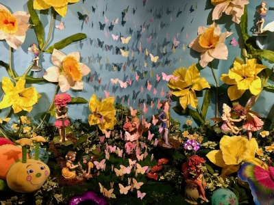 elaborate diorama of fairies and flowers at Kraynak's Easter Bunny Lane, Hermitage, PA