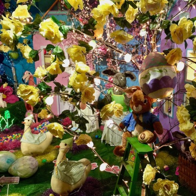elaborate diorama of yellow flowers in bloom at Kraynak's Easter Bunny Lane, Hermitage, PA