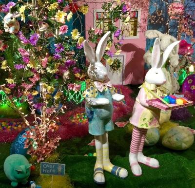 elaborate diorama of Easter bunnies at Kraynak's Easter Bunny Lane, Hermitage, PA